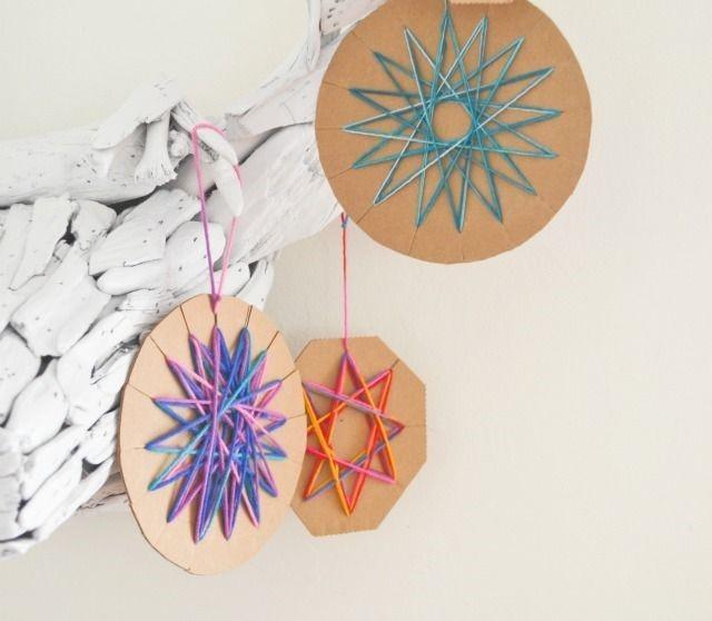Cardboard yarn ornament