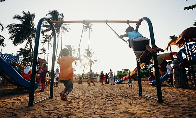 Children playing swing